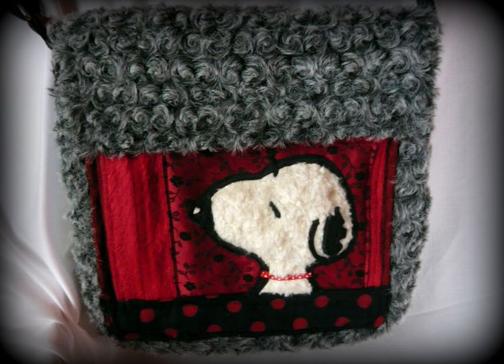 Handmade by Judy Majoros - Snoopy faux fur crossbody recycled bag, polka dots, gray-plack-red-white