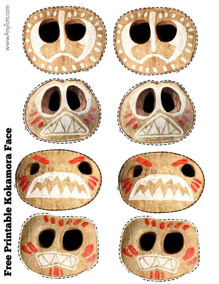 Free Printable Moana Kokamora Face. Moana Party Favor Ideas: Kokamora Coconut Cups + Free Printable Kokamora Faces. www.anytots.com for more Moana Birthday Party Ideas.