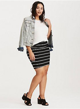 "Choosing sides has never been easier than with this mini skirt. While the black and white striped knit is figure flattering with slimming lines and curve-clinging ponte, the black elastic side insets stretch with you, hugging you just right.<div><ul><li style=""list-style-position: inside !important; list-style-type: disc !important"">Size 1 measures 20 1/2"" from center front</li><li style=""list-style-position: inside !important; list-style-type: disc !important"">Rayon/nylon/spandex</li><li…"