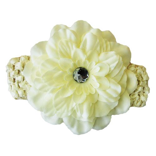 Ivory Peony Flower Headband