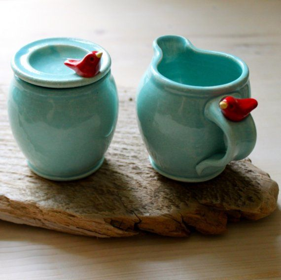 Red Bird Aqua Cream and Sugar Set! I can totally do this, just need come clay and porcelain clay. Gorgeous colors too!!!