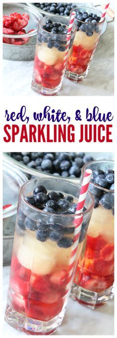 These Red, White & Blue Sparkling Juice Drinks are perfect for the 4th of July or any Patriotic celebration! You can make these in just a few minutes and they are a fun Non-Alcoholic Drink for Kids!