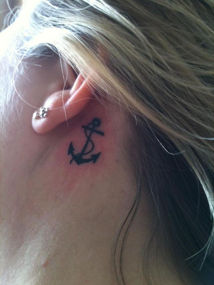 anchor tattoos behind the ear - Google Search