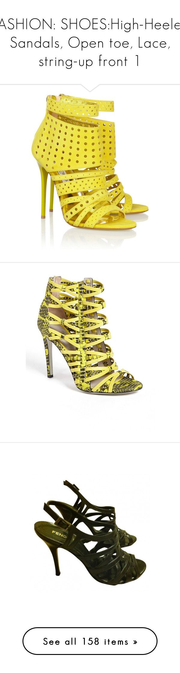 """FASHION: SHOES:High-Heeled Sandals, Open toe, Lace, string-up front 1"" by eva-malecka ❤ liked on Polyvore featuring shoes, sandals, heels, yellow, jimmy choo, yellow heel shoes, jimmy choo sandals, yellow high heel sandals, zipper shoes and jimmy choo shoes"