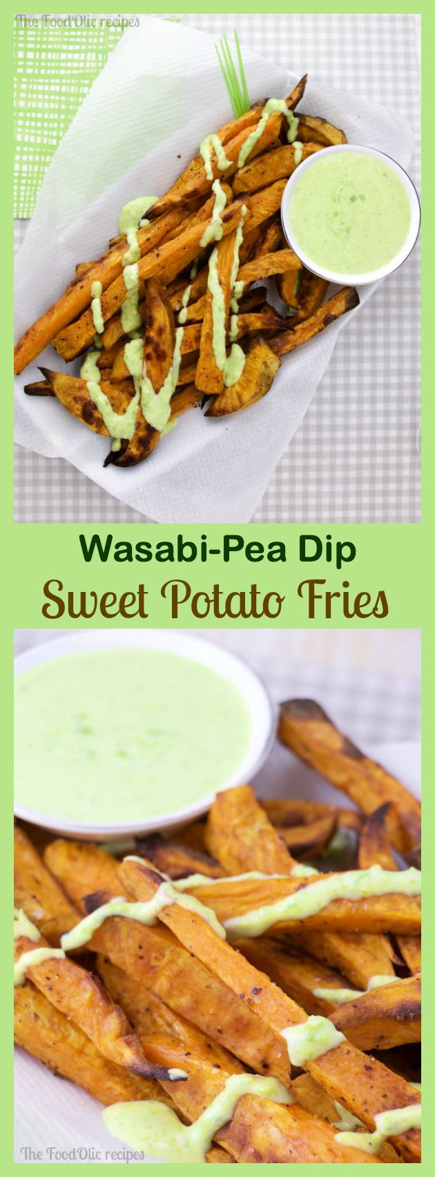 Sweet Potato Fries with a Wasabi-Pea Dip is a dynamic duo of colors and flavors. The sweetness of the fries is balanced to perfection with the spicy green wasabi-pea dip. #fries #snack #wasabi #sweetpotato