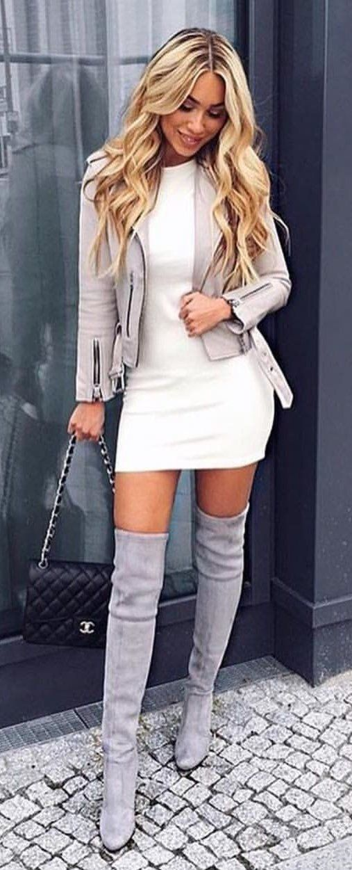 #winter #outfits white crew-neck bodycon dress, gray zip-up cardigan and thigh high boots outfit