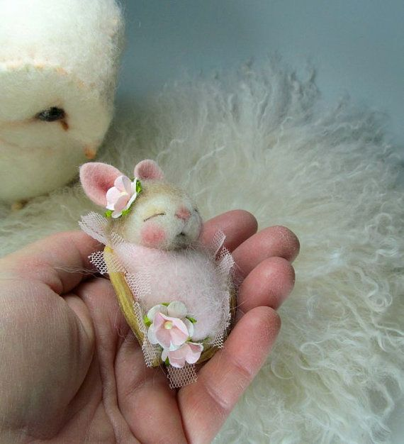 ADOPT A BUNNY Pawdling Needle Felted Sweet Pea  Bunny by barby303