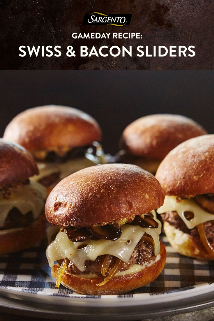 These Swiss-and-bacon-topped cheeseburger sliders are small in size but big in taste. Serve them at your gameday party so your guests have a free hand to cheer on their team. Click through to the full recipe.