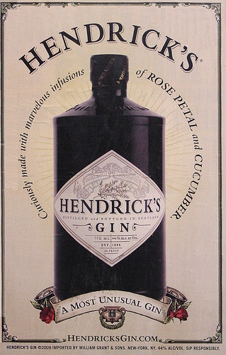 Hendrick's Gin is so different! mix with Ice,Tonic and sliced Cucumber. Delicious!!