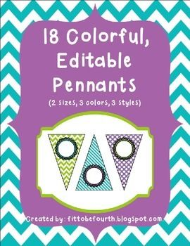 Fun, Editable Pennants in Purple, Turquoise, and Lime Green