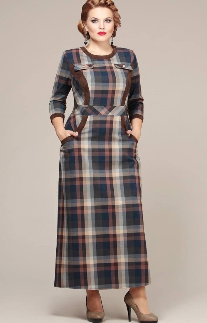 Платье в клетку для полных женщин La Degrade