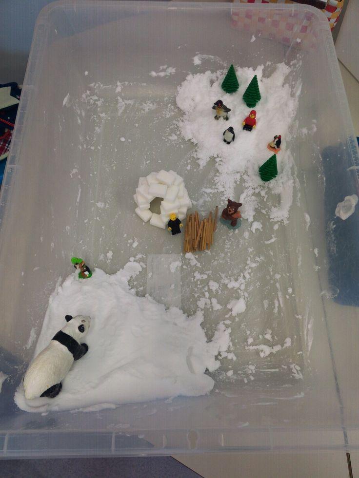 * Bac sensoriel: la neige artificielle  Mousse à raser (1 bombe) + bicarbonate de soude alimentaire (500 à 600 g)
