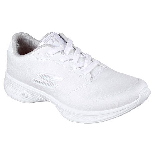 Ladies Skechers GO Walk 4 Athletic Sneakers 7.5 M White/Silver