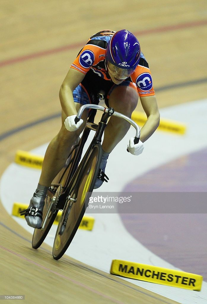 Rebecca James of Great Britain and Motor Point Marshalls in action during Qualifying for the Women's Sprint Championship at the British National Track Cycling Championships at Manchester Velodrome on September 23, 2010 in Manchester, England.