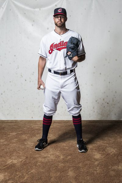 Corey Kluber #28 of the Cleveland Indians poses for a portrait during photo day at the Cleveland Indians Development Complex on February 27, 2016 in Goodyear, Arizona.