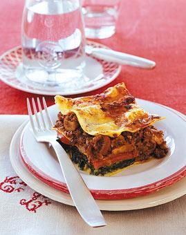 Rezept: Lasagne mit Gorgonzola und Pilz-Bolognese
