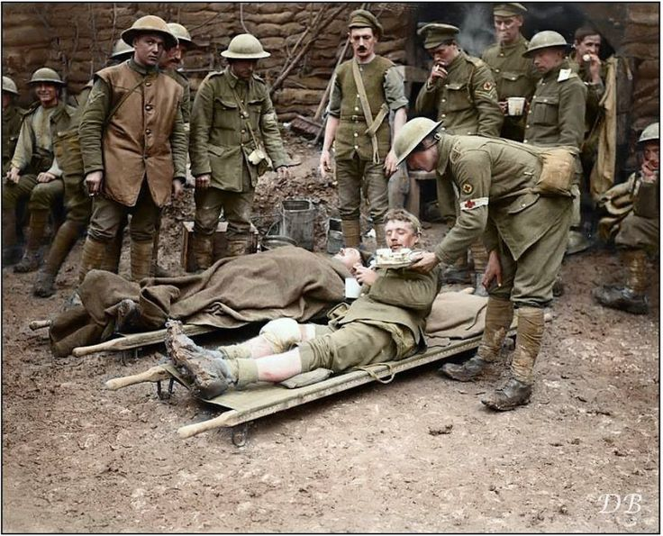 Battle of the Ancre  British wounded and Royal Army Medical Corp staff at a Dressing Station in Aveluy Wood, north of Albert, Somme. 13 November 1916. (Phot0 source - © IWM Q 4506) (Colourised by Doug)