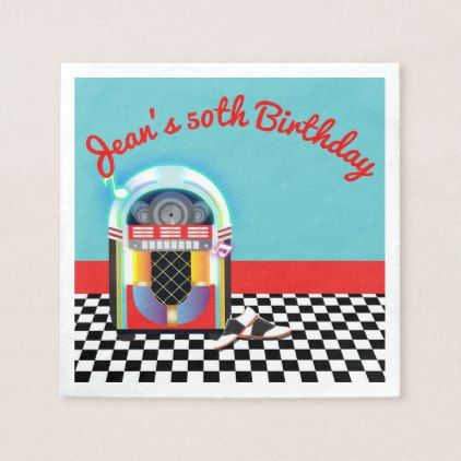 50's Sock Hop Dance Party Jukebox Red Custom Napkin - red gifts color style cyo diy personalize unique