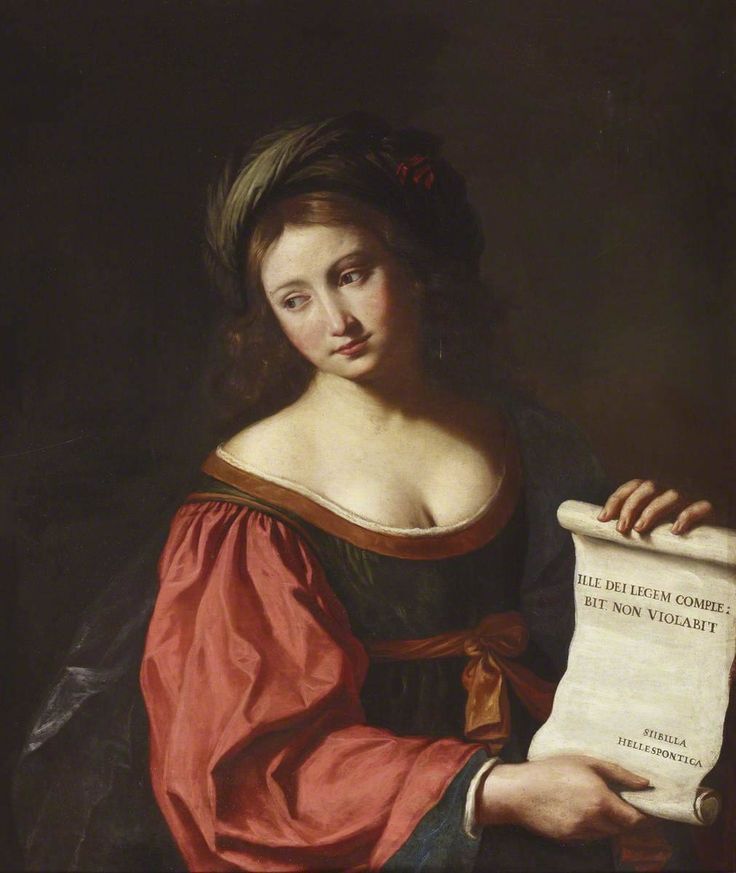 The Sybil Hellespontica. Guercino (Giovanni Francesco Barbieri) (Italian, 1591-1666). Oil on canvas. Ickworth. In antiquity, sibyls were women endowed with the gift of prophecy, and were priestesses of Apollo. During the Middle Ages, the western church had accepted twelve of them as prophets of the coming of Christ, of which the Sibyl Hellespontica was one. Her name indicated her place of origin.