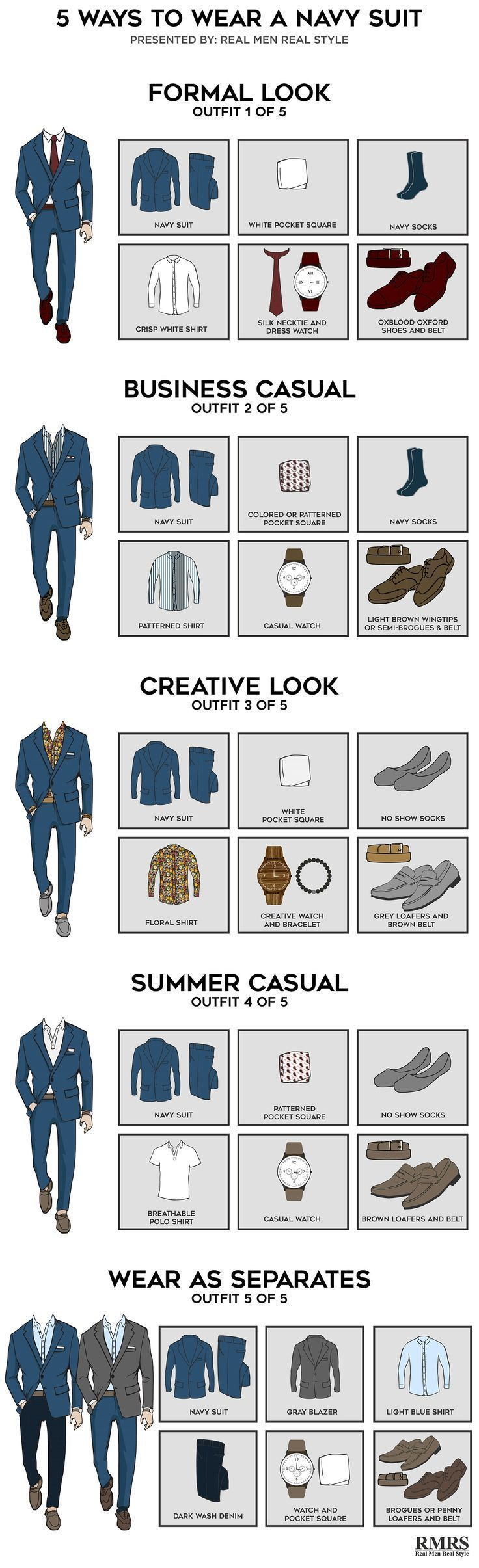 5 Outfits From One Navy Suit – Infographic