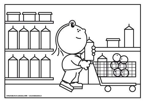 Lola loopt in de supermarkt met een grote winkelwagen. Ze helpt met de boodschappen  en heeft al een pak melk, yoghurt en sinaasappelen.