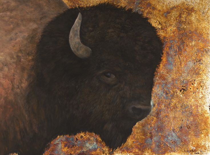 """""""Silver Buffalo"""" 2016  by James M. Clow 40""""x30""""x1.75"""" Acrylic, genuine Sterling Silver gilding, and chemical patina on textured cradled birch board panel.  Awarded the Peggy and Sandy Kerr Memorial Award at the 41st Winter Festival Juried Art Exhibition at The Mann Gallery, Prince Albert, SK. 2017"""