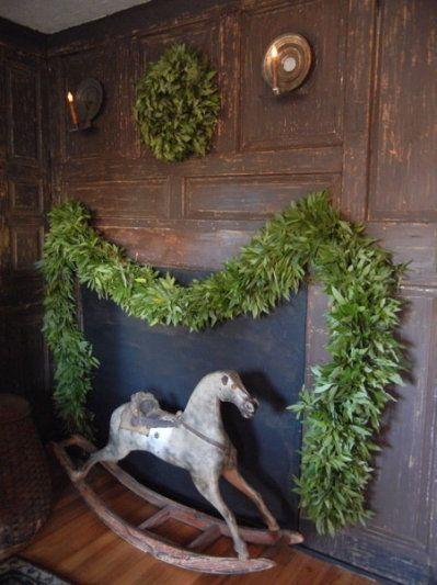 Old Wooden Rocking Horse...pine wreath & garland.