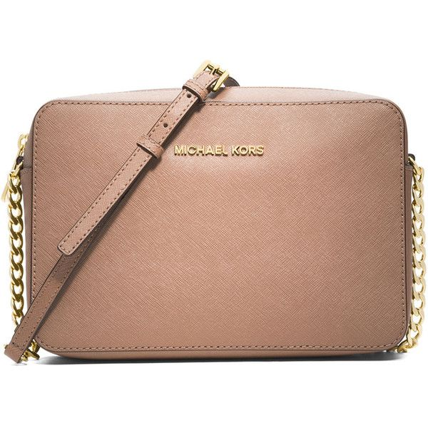 MICHAEL Michael Kors Jet Set Travel Saffiano Crossbody Bag (107.265 CLP) ❤ liked on Polyvore featuring bags, handbags, shoulder bags, items, blush, travel purse crossbody, cross body purse, cross body handbags and accessories handbags