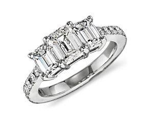 Emerald Cut Three Stone Pavé Diamond Ring in Platinum #BlueNile