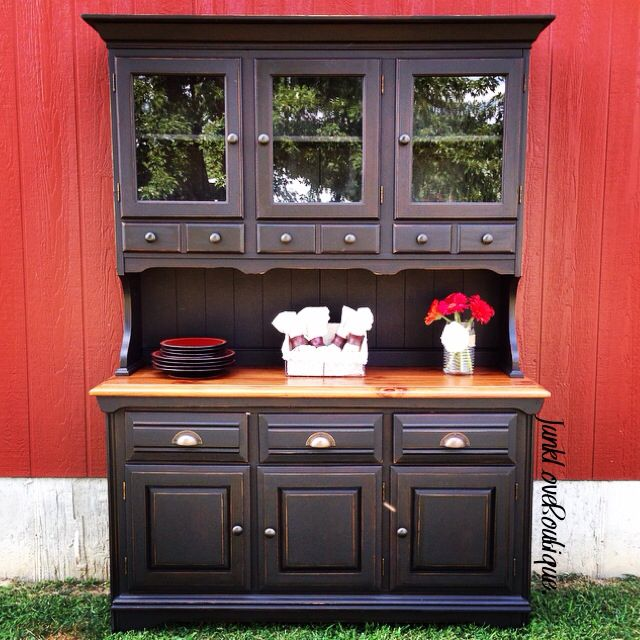 Pine China Cabinet Hutch: Black Distressed China Cabinet With Gorgeous Knotty Pine