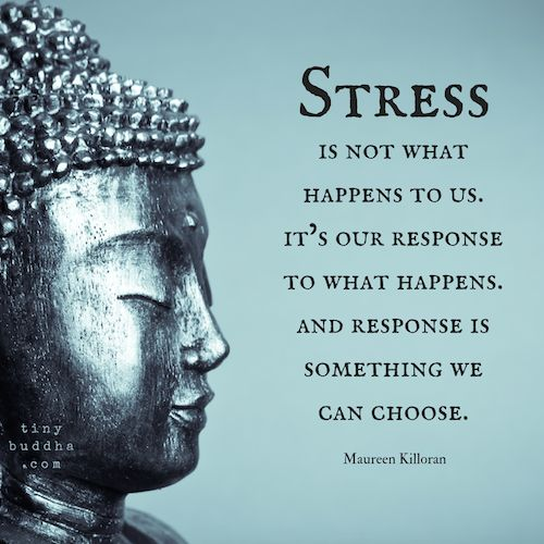 Stress is not what happens to us, It is our response to what happens, and response is something we choose. -Marine Killoran