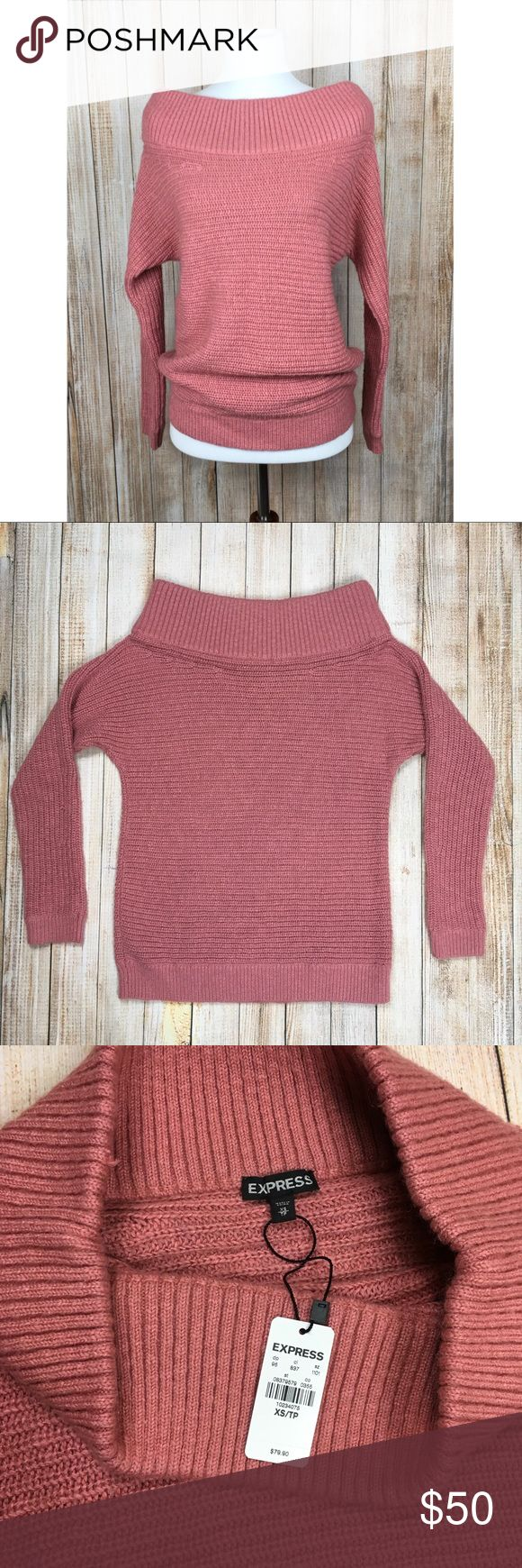 Express off the shoulder sweater Wool and mohair are included in this beautiful pink off the shoulder sweater. No flaws. Pair with almost anything! Approximate measurements provided in photos. OFFERS ENCOURAGED!  Tags: pretty, girly, flirty, fall, winter, weekend, statement, mauve, rose Express Sweaters