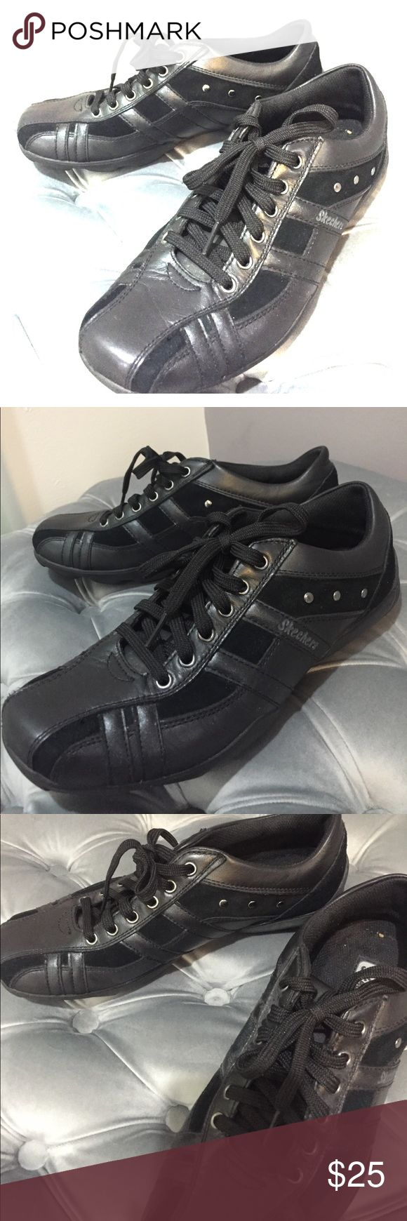 Skechers black shoes with silver studs Skechers black shoes with silver studs. Size 8.5 US. Worn once. Excellent condition. Skechers Shoes Athletic Shoes
