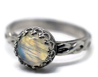 Bague Pierre de lune celtique, bague de fiançailles de Pierre de lune arc-en-ciel, Celtic tresse bague de mariage, bague argent