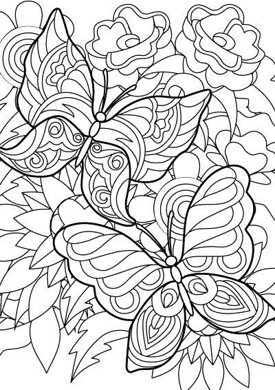 Tegning af to flyvende sommerfugle til udskrivning og