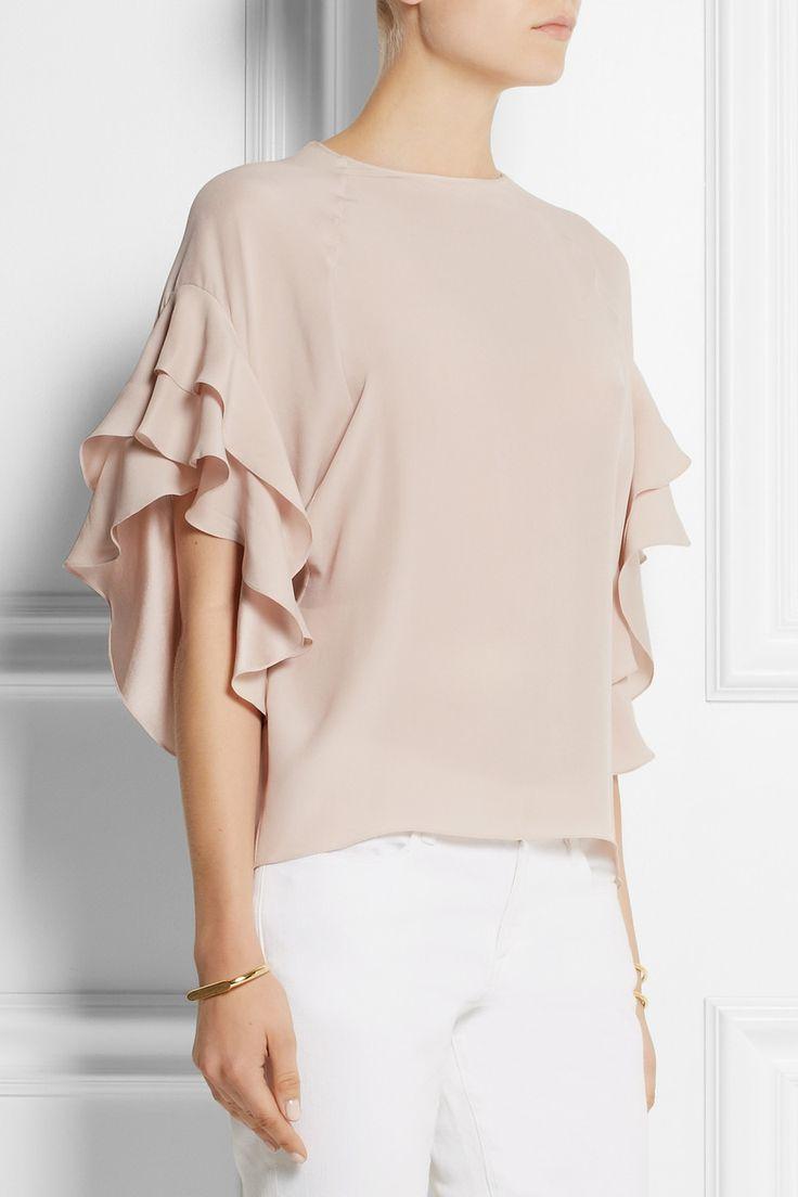Chloé|Ruffled silk-crepe top|NET-A-PORTER.COM