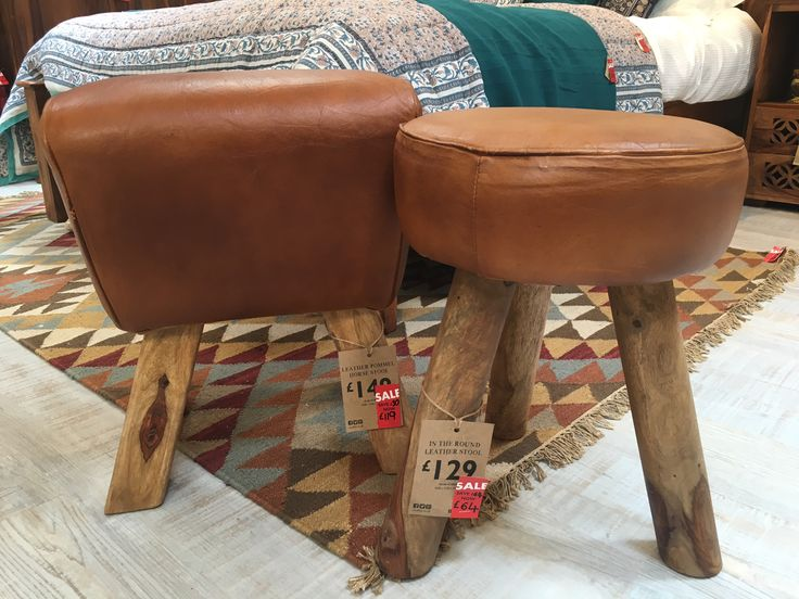 Leather Stools up to 50% off, hurry while stocks last! #GuildfordSalePicks #fairlytraded