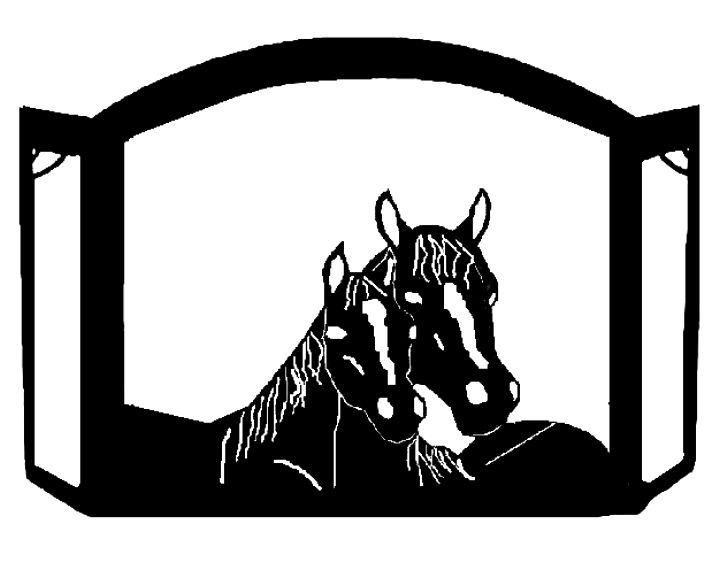 Mare & Foal Horse Portrait Custom Fireplace Screen exclusive design made of heavy recycled steel american made equine horse decor western fire tool western decor