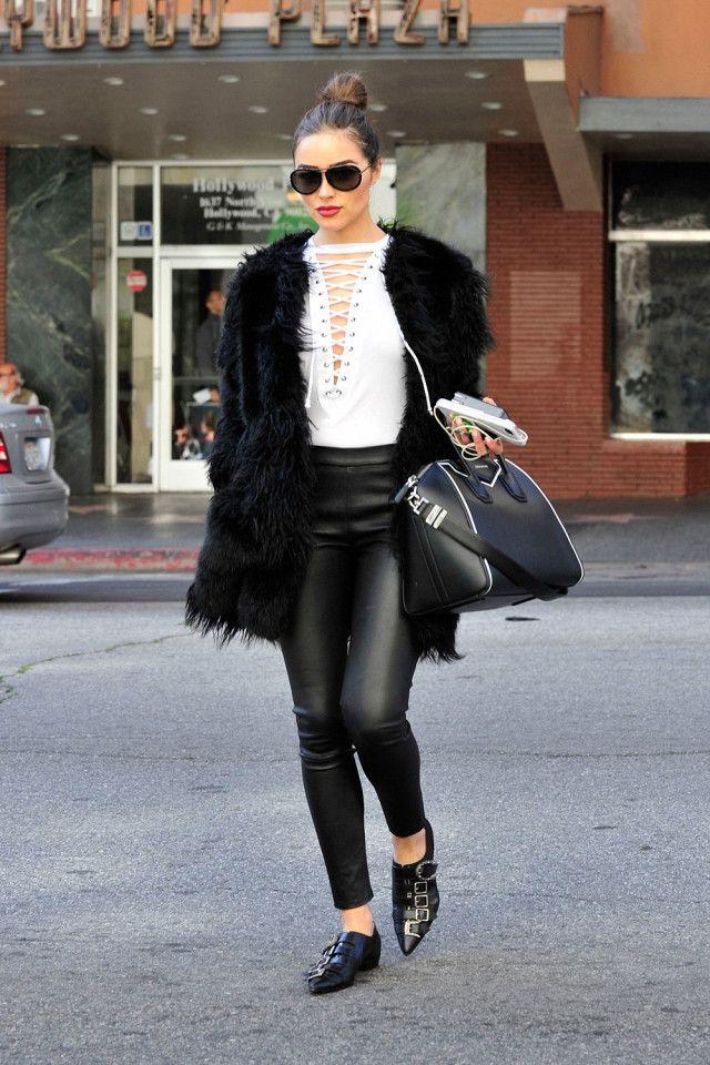 On Olivia Culpo: Peace Love World Andrea Top ($78); J Brand Edita Mid-Rise Leather Legging ($948); Givenchy Medium Antigona Contrast Leather Satchel; Gucci Leather Buckle Shoe ($1550).  Similar...