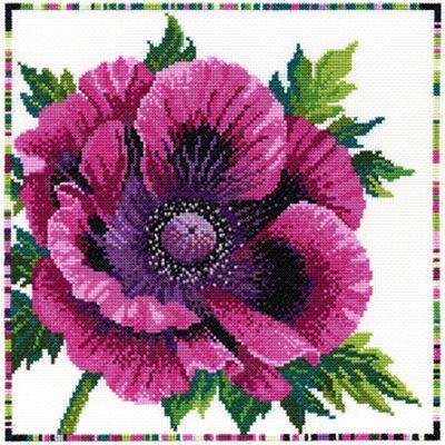 Garden Flowers - Purple Poppy Cross Stitch Kit by Bothy Threads