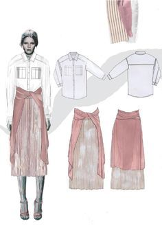 Fashion Illustration | by Roberta Einer | Fashion Sketchbook | fashion illustration & flats | portfolio | pink pleated skirt @monstylepin