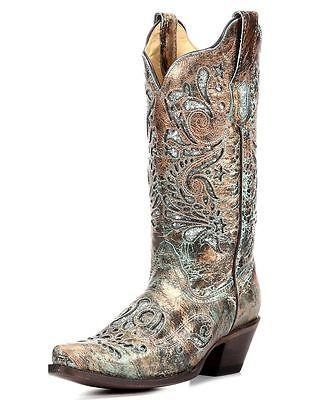 Corral-Ladies-Cowboy-Western-Boots-Bronze-Turquoise-Glitter-Inlay-R1255