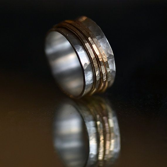 I'm in love with this ring! 14 karat gold and ecofriendly sterling silver Spinner Ring - Wide Hammered Band 3 gold spinner rings