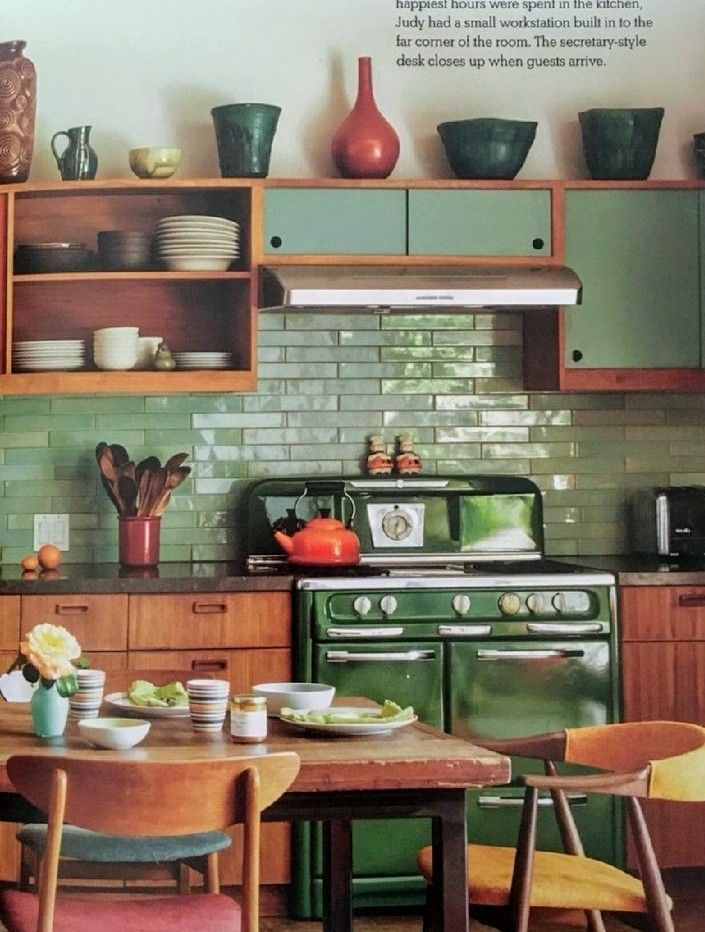 green vintage stove backsplash mid century modern danish inspired kitchen kitchen decor on kitchen interior classic id=91956