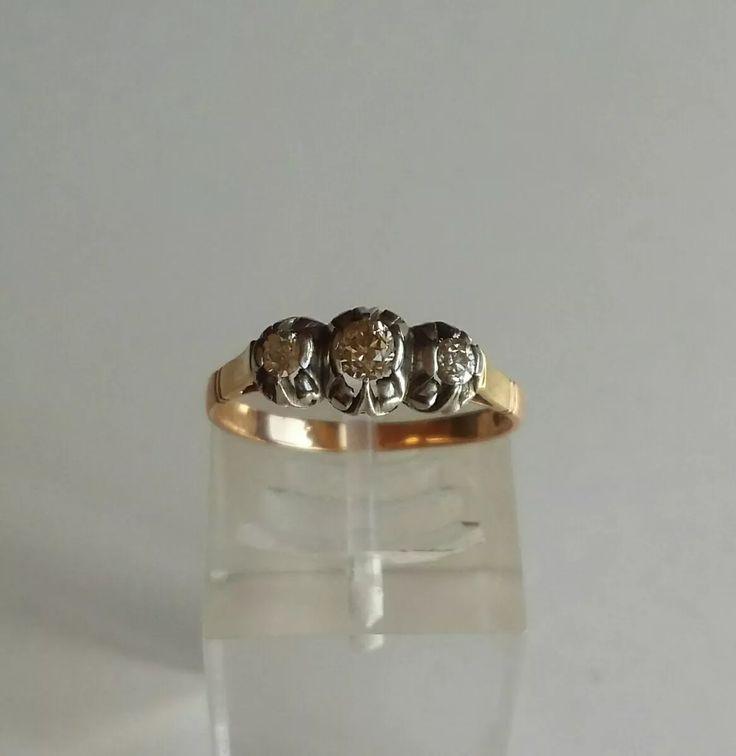 antiguo anillo de oro 18 k platino y brillantes