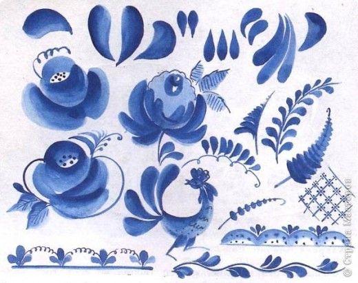 Поделка изделие Бумагопластика Кухонный сервиз из бумажных тарелочек гжельская роспись Тарелки одноразовые фото 5