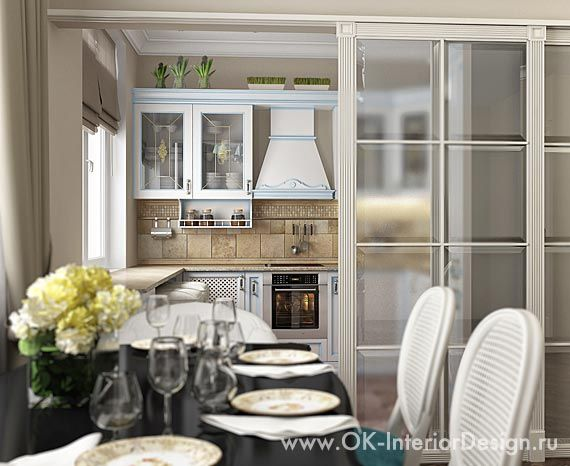 Кухня в классическом стиле, отделена от гостиной дверью-купе