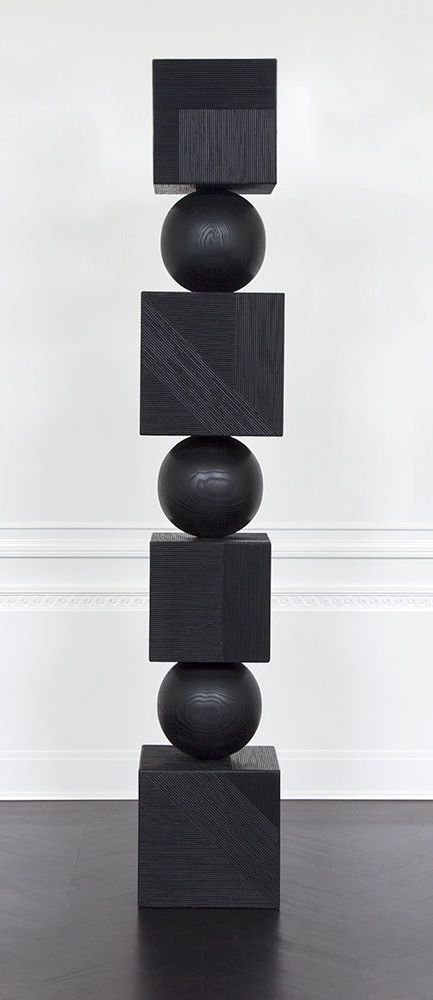 KELLY WEARSTLER | TEPHRA TOTEM SCULPTURE. Ebonized wood artwork, hand-carved in Los Angeles