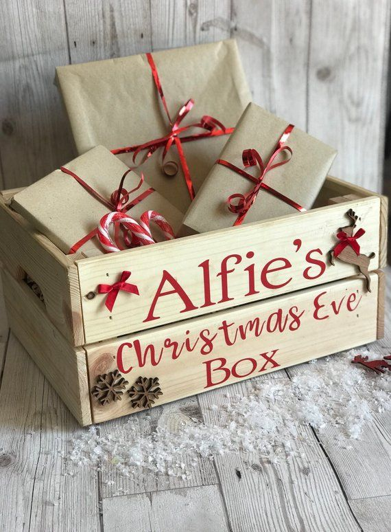 Christmas Crate Box.Personalised Christmas Eve Box Christmas Eve Crate Wooden