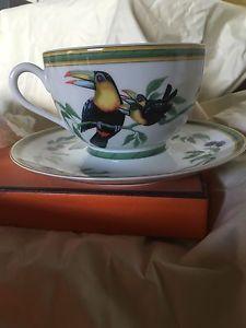 Rare Coffret Tasse ET Soucoupe Hermès Décor Toucan Porcelaine DE Paris   eBay